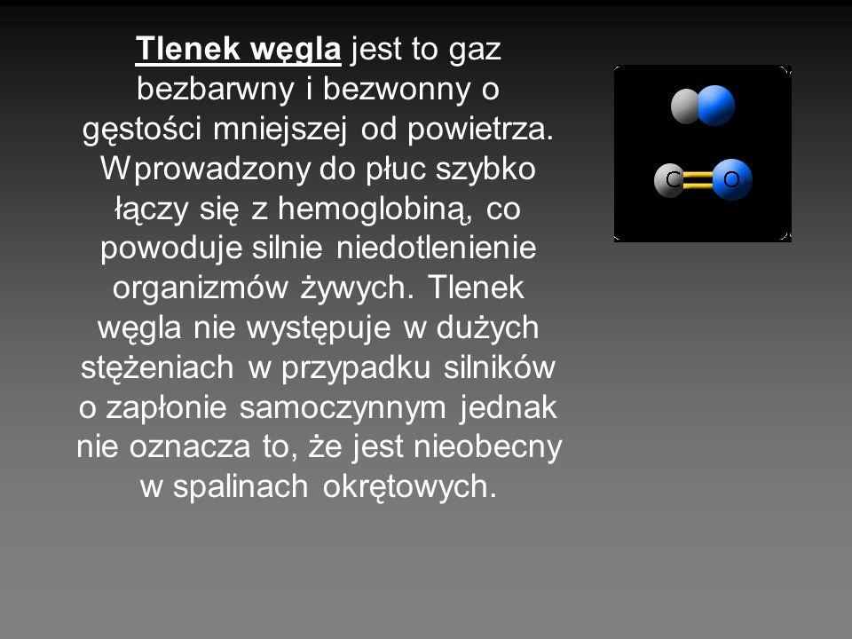 Tlenek węgla jest to gaz bezbarwny i bezwonny o gęstości mniejszej od powietrza. Wprowadzony do płuc szybko łączy się z hemoglobiną, co powoduje silni