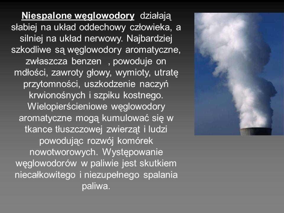 Niespalone węglowodory działają słabiej na układ oddechowy człowieka, a silniej na układ nerwowy. Najbardziej szkodliwe są węglowodory aromatyczne, zw