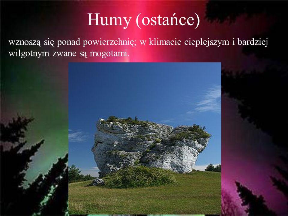 Humy (ostańce) wznoszą się ponad powierzchnię; w klimacie cieplejszym i bardziej wilgotnym zwane są mogotami.