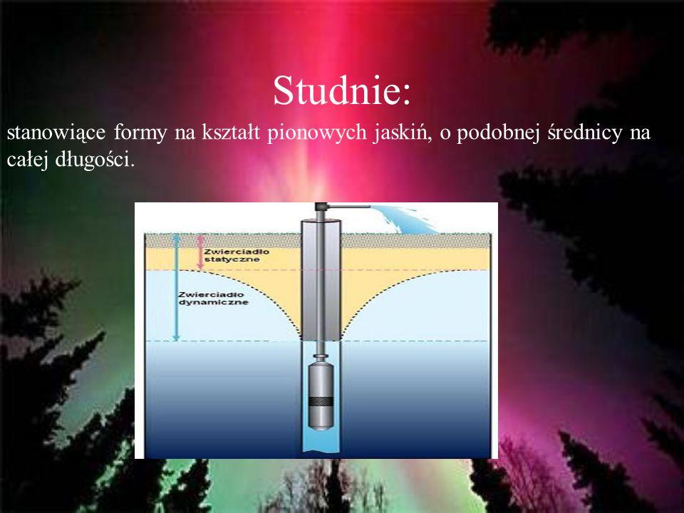 Studnie: stanowiące formy na kształt pionowych jaskiń, o podobnej średnicy na całej długości.