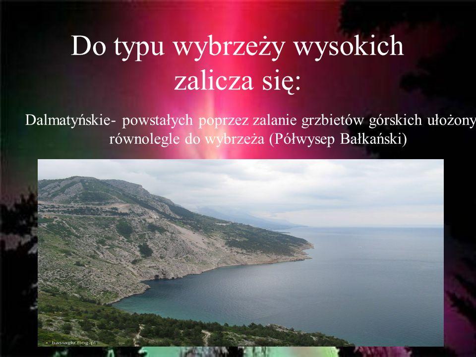 Do typu wybrzeży wysokich zalicza się: Dalmatyńskie- powstałych poprzez zalanie grzbietów górskich ułożonych równolegle do wybrzeża (Półwysep Bałkańsk