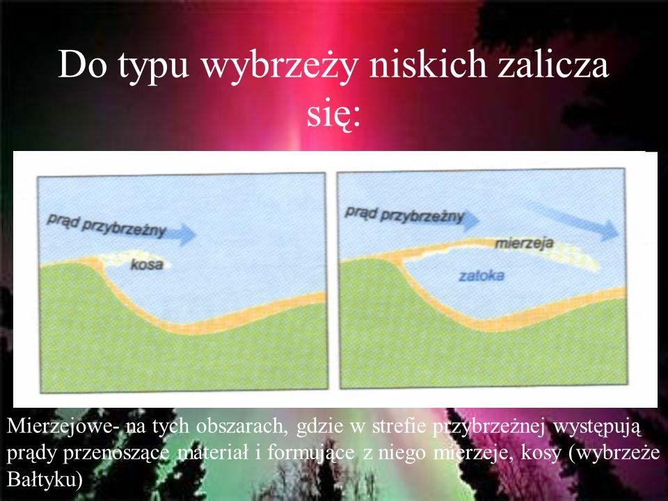 Do typu wybrzeży niskich zalicza się: Mierzejowe- na tych obszarach, gdzie w strefie przybrzeżnej występują prądy przenoszące materiał i formujące z n