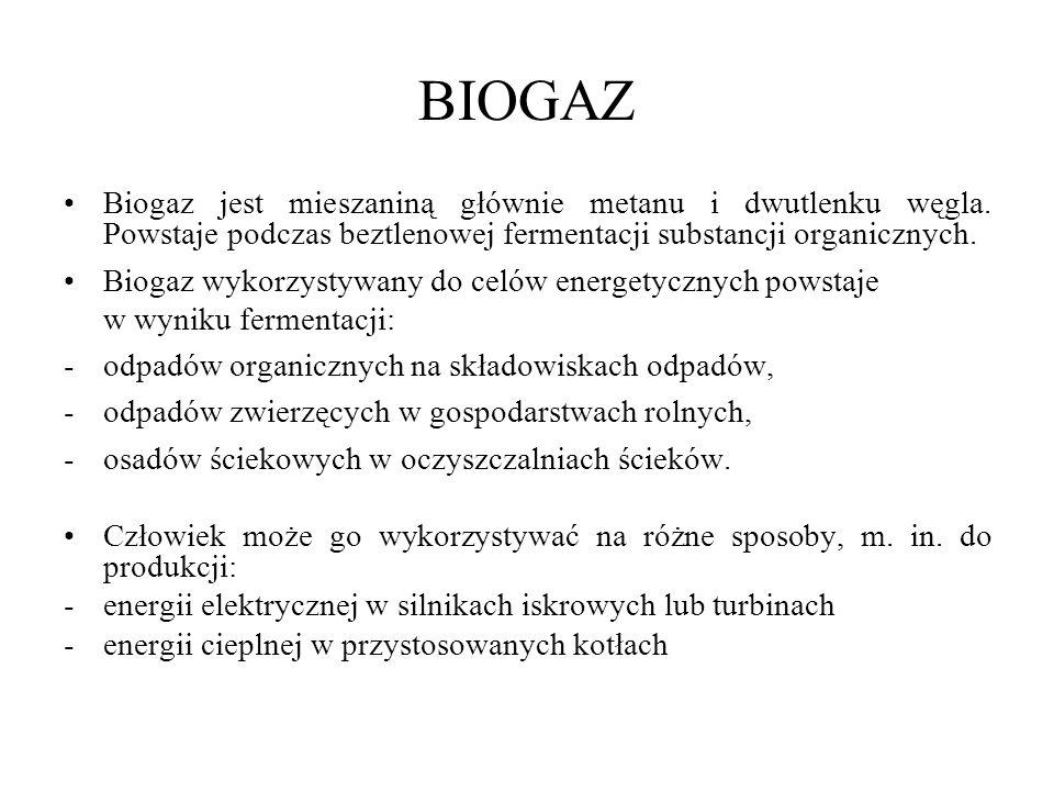 BIOGAZ Biogaz jest mieszaniną głównie metanu i dwutlenku węgla.
