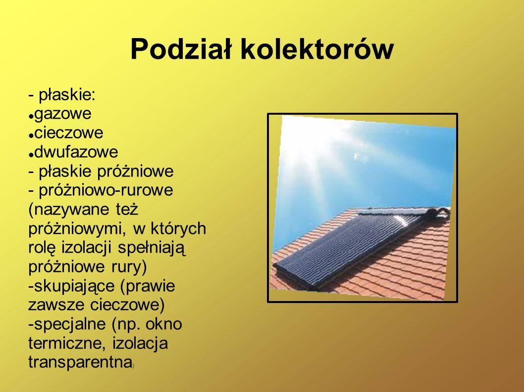 Kolektory paraboliczne Składają się z luster, za pomocą których promieniowanie słoneczne jest skupiane wewnątrz kolektora jak w soczewce i kierowane na rurę z czynnikiem roboczym.