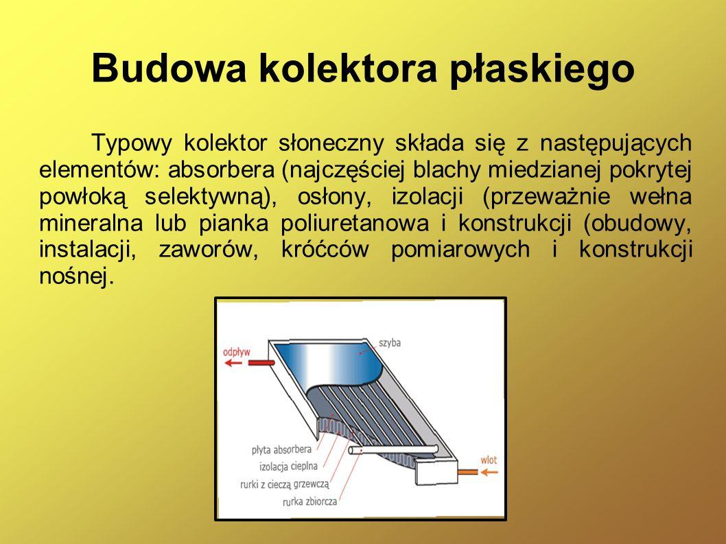 Kolektor płaski cieczowy Kolektory cieczowe są to urządzenia zamieniające energię słoneczną na ciepło, w których czynnikiem roboczym jest ciecz.