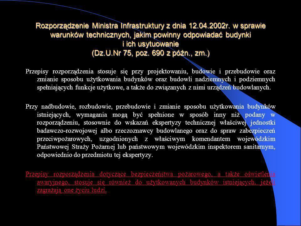 Rozporządzenie Ministra Infrastruktury z dnia 12.04.2002r. w sprawie warunków technicznych, jakim powinny odpowiadać budynki i ich usytuowanie (Dz.U.N