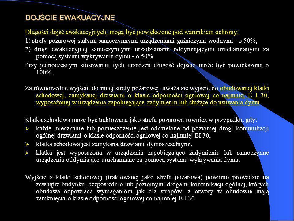 DOJŚCIE EWAKUACYJNE Długości dojść ewakuacyjnych, mogą być powiększone pod warunkiem ochrony: 1) strefy pożarowej stałymi samoczynnymi urządzeniami ga