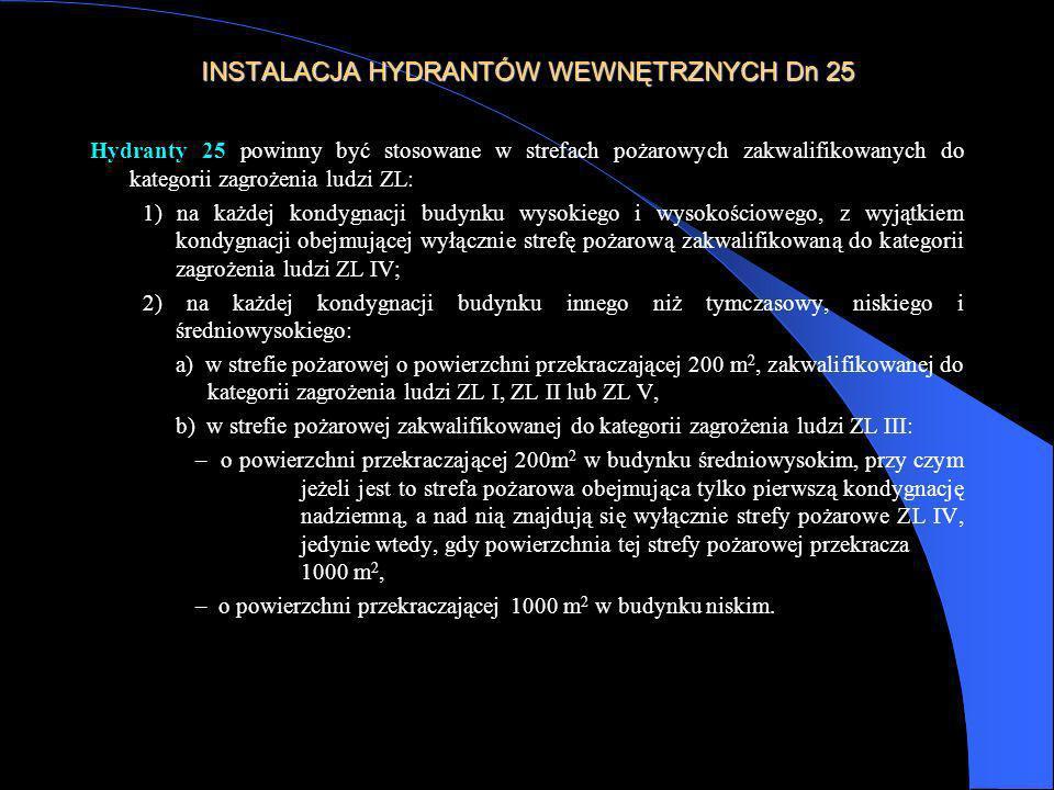 INSTALACJA HYDRANTÓW WEWNĘTRZNYCH Dn 25 Hydranty 25 powinny być stosowane w strefach pożarowych zakwalifikowanych do kategorii zagrożenia ludzi ZL: 1)