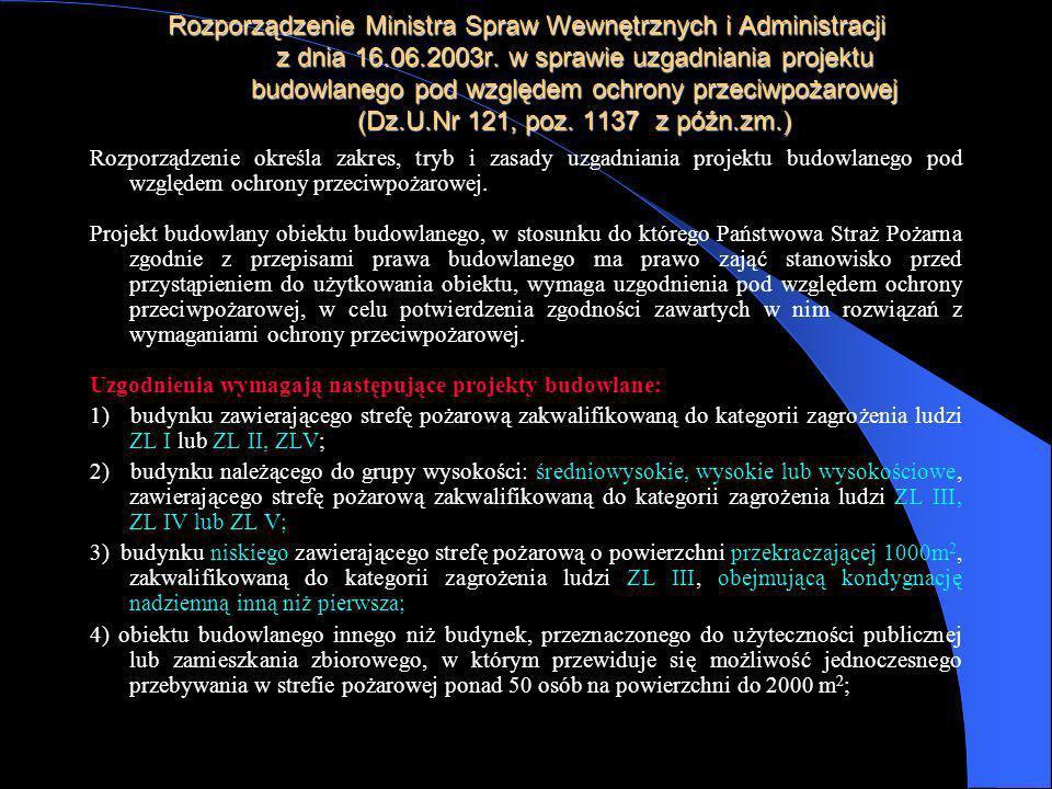 Rozporządzenie Ministra Spraw Wewnętrznych i Administracji z dnia 16.06.2003r. w sprawie uzgadniania projektu budowlanego pod względem ochrony przeciw