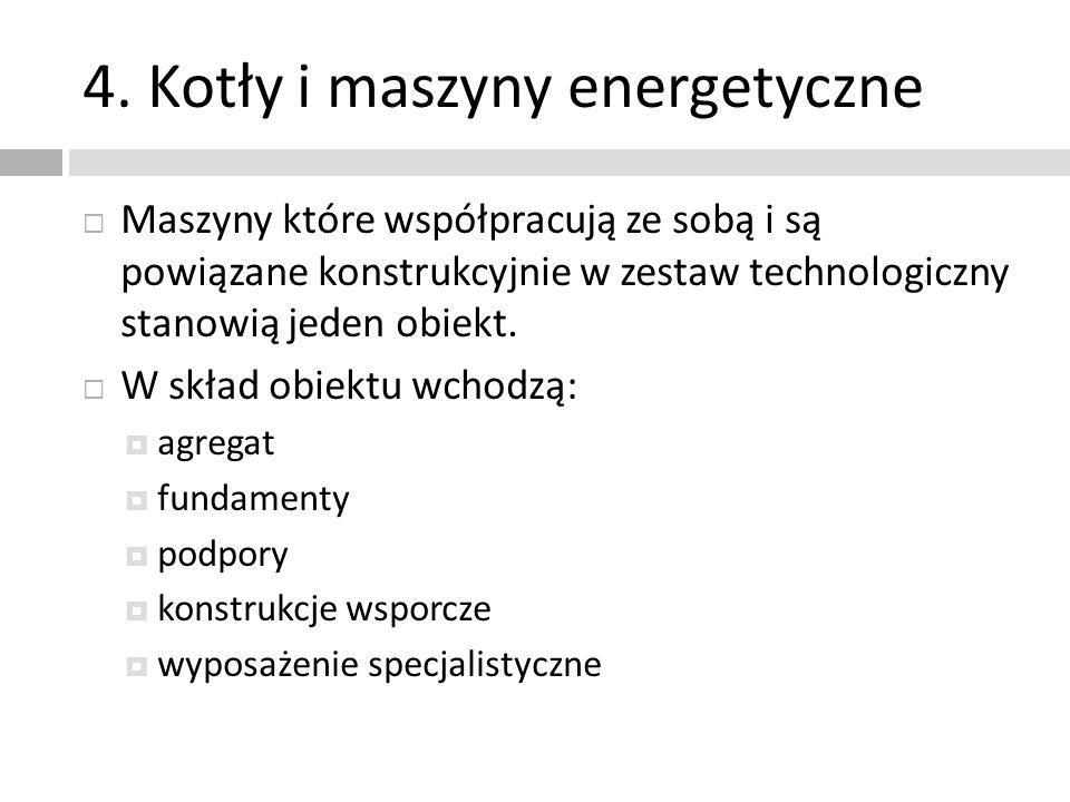 4. Kotły i maszyny energetyczne Maszyny które współpracują ze sobą i są powiązane konstrukcyjnie w zestaw technologiczny stanowią jeden obiekt. W skła