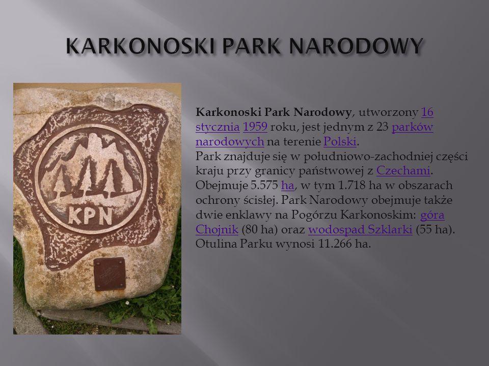 Karkonoski Park Narodowy, utworzony 16 stycznia 1959 roku, jest jednym z 23 parków narodowych na terenie Polski.16 stycznia1959parków narodowychPolski