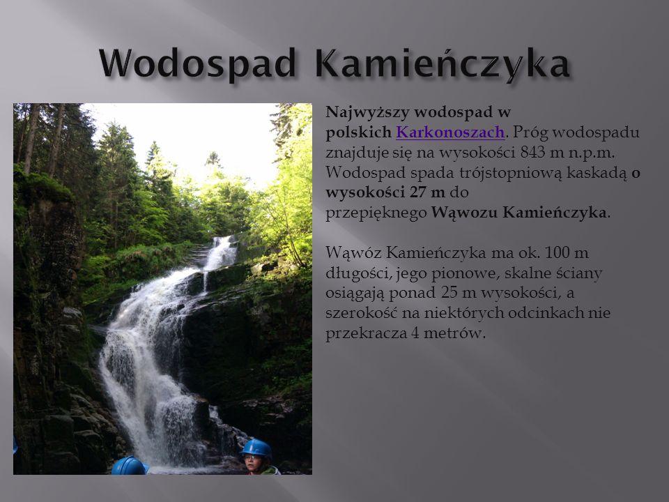 Najwyższy wodospad w polskich Karkonoszach. Próg wodospadu znajduje się na wysokości 843 m n.p.m. Wodospad spada trójstopniową kaskadą o wysokości 27