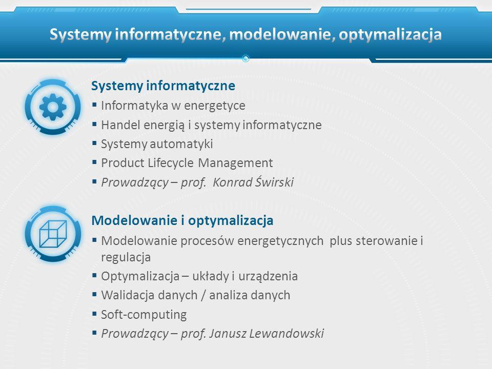 Systemy informatyczne Informatyka w energetyce Handel energią i systemy informatyczne Systemy automatyki Product Lifecycle Management Prowadzący – pro