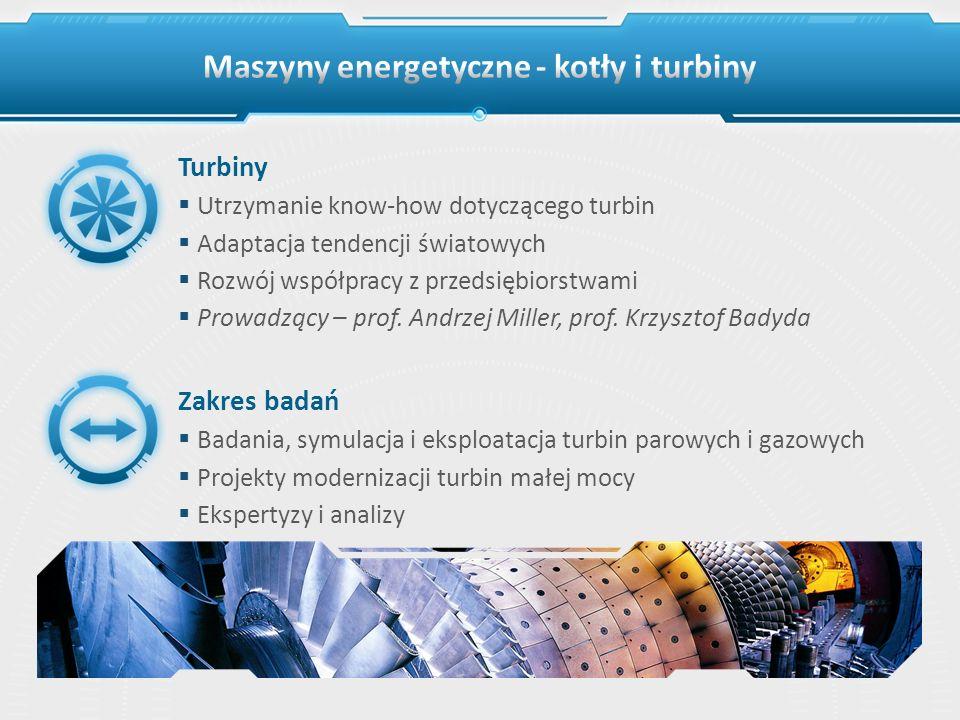 Turbiny Utrzymanie know-how dotyczącego turbin Adaptacja tendencji światowych Rozwój współpracy z przedsiębiorstwami Prowadzący – prof. Andrzej Miller