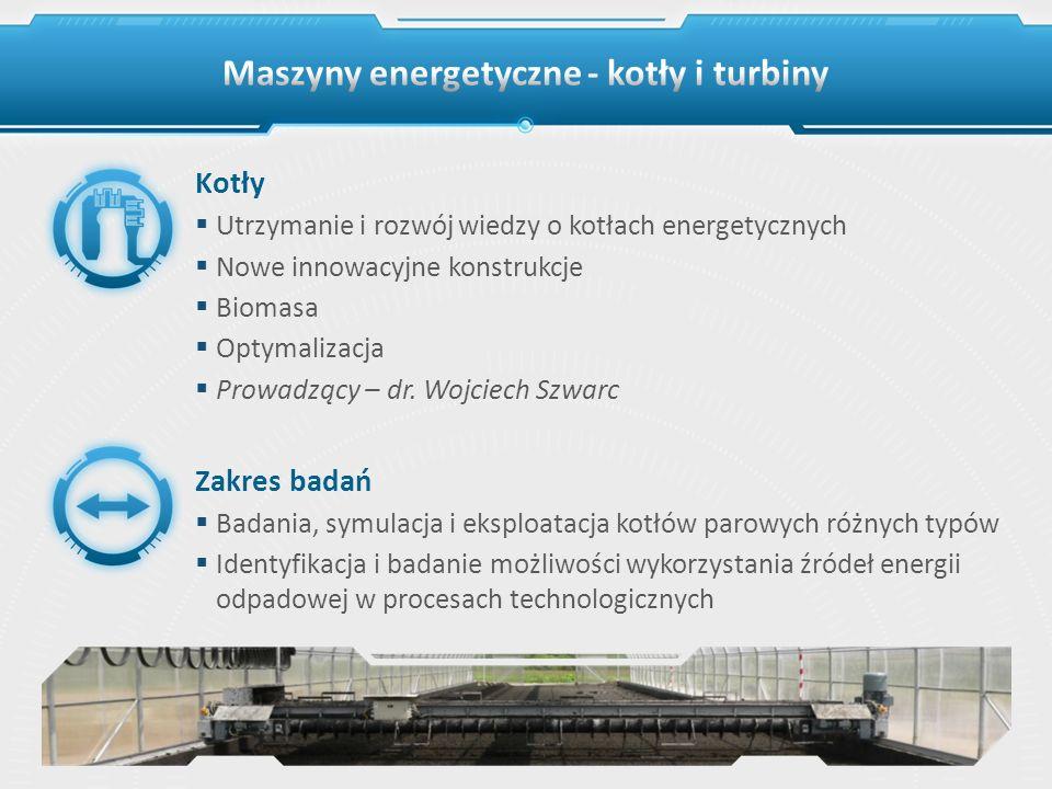 Kotły Utrzymanie i rozwój wiedzy o kotłach energetycznych Nowe innowacyjne konstrukcje Biomasa Optymalizacja Prowadzący – dr. Wojciech Szwarc Zakres b