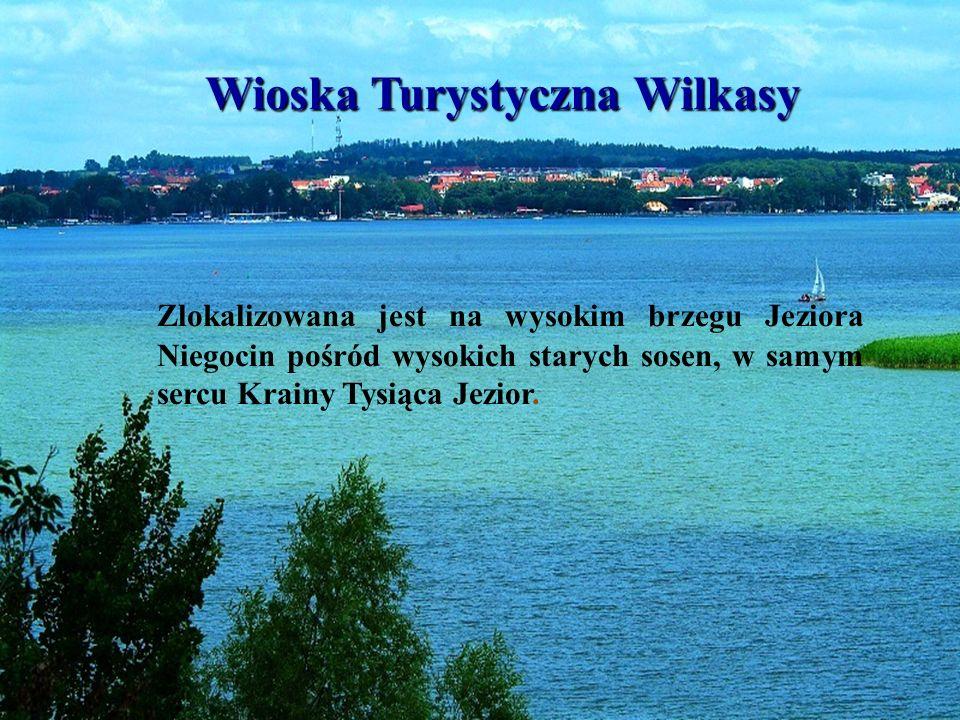 Wioska Turystyczna Wilkasy Wioska Turystyczna Wilkasy Zlokalizowana jest na wysokim brzegu Jeziora Niegocin pośród wysokich starych sosen, w samym ser