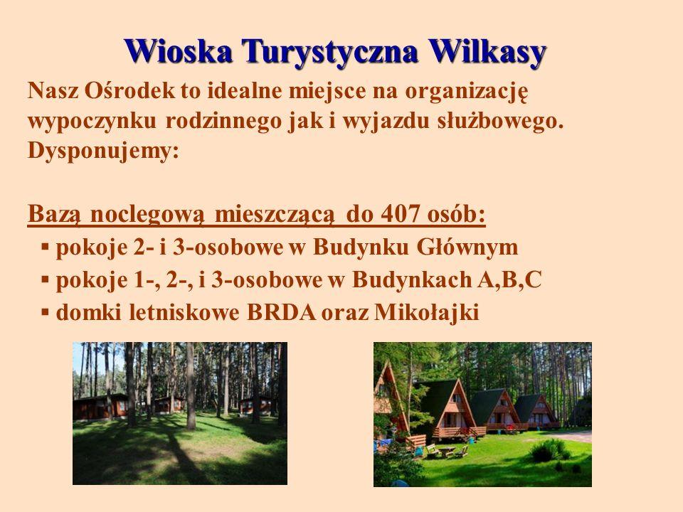 Wioska Turystyczna Wilkasy Nasz Ośrodek to idealne miejsce na organizację wypoczynku rodzinnego jak i wyjazdu służbowego. Dysponujemy: Bazą noclegową