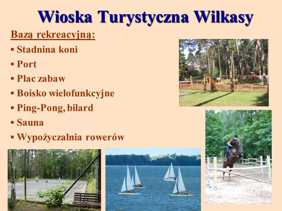 Wioska Turystyczna Wilkasy Bazą rekreacyjną: Stadnina koni Port Plac zabaw Boisko wielofunkcyjne Ping-Pong, bilard Sauna Wypożyczalnia rowerów