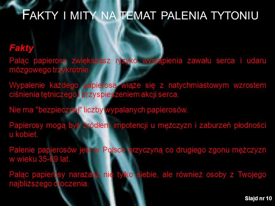 F AKTY I MITY NA TEMAT PALENIA TYTONIU Fakty Paląc papierosy zwiększasz ryzyko wystąpienia zawału serca i udaru mózgowego trzykrotnie. Wypalenie każde