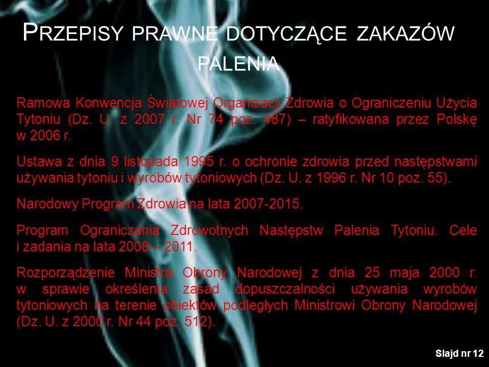 P RZEPISY PRAWNE DOTYCZĄCE ZAKAZÓW PALENIA Ramowa Konwencja Światowej Organizacji Zdrowia o Ograniczeniu Użycia Tytoniu (Dz. U. z 2007 r. Nr 74 poz. 4