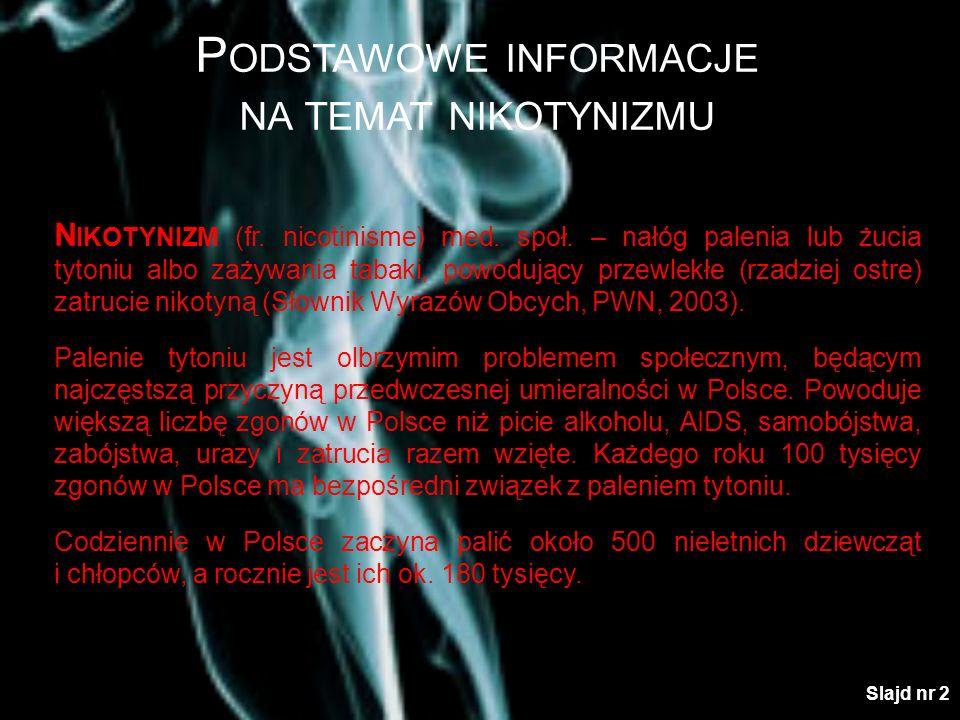 P ODSTAWOWE INFORMACJE NA TEMAT NIKOTYNIZMU N IKOTYNIZM (fr. nicotinisme) med. społ. – nałóg palenia lub żucia tytoniu albo zażywania tabaki, powodują