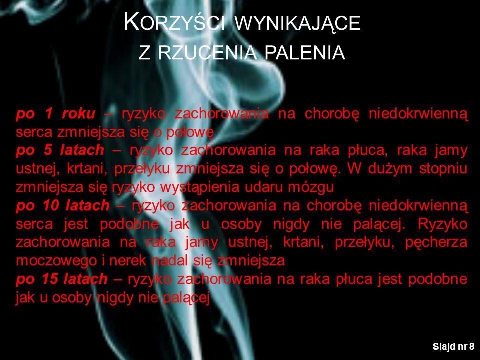 K ORZYŚCI WYNIKAJĄCE Z RZUCENIA PALENIA Finansowe W Polsce paczka papierosów kosztuje około 6 zł 1 dzień6,00 PLN – czasopismo 4 dni 24,00 PLN – bilet do kina 1 tydzień 42,00 PLN – książka 1 miesiąc 180,00 PLN – ubranie 4 miesiące 720,00 PLN – rower górski 6 miesięcy 1080,00 PLN – telewizor 1 rok 2160,00 PLN – 2-tygodniowe wczasy 10 lat 21600,00 PLN – działka rekreacyjna 40 lat 86400,00 PLN – wysokiej klasy samochód Slajd nr 9
