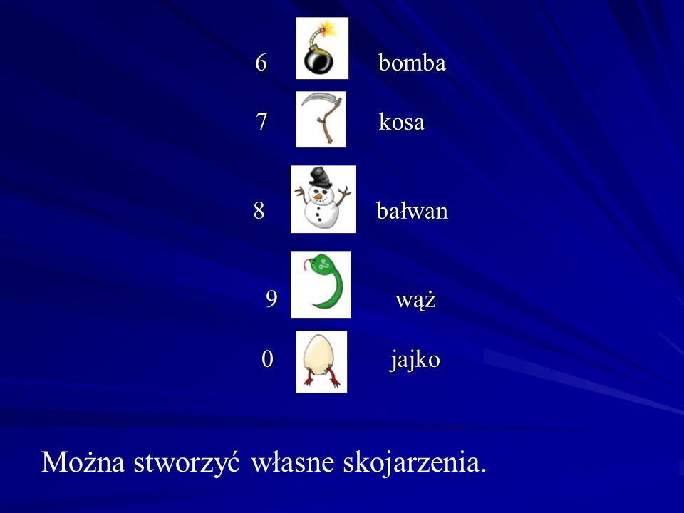 6 bomba 6 bomba 7 kosa 8 bałwan 9 wąż 0 jajko 7 kosa 8 bałwan 9 wąż 0 jajko Można stworzyć własne skojarzenia.
