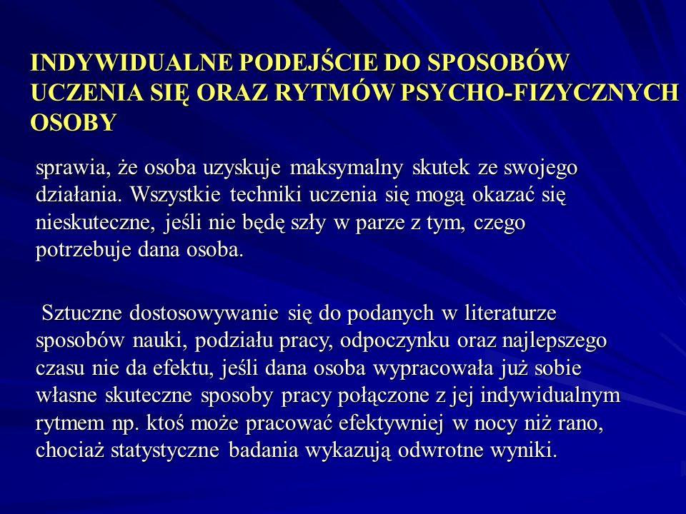 INDYWIDUALNE PODEJŚCIE DO SPOSOBÓW UCZENIA SIĘ ORAZ RYTMÓW PSYCHO-FIZYCZNYCH OSOBY sprawia, że osoba uzyskuje maksymalny skutek ze swojego działania.