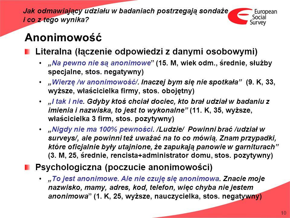 10 Anonimowość Literalna (łączenie odpowiedzi z danymi osobowymi) Na pewno nie są anonimowe (15. M, wiek odm., średnie, służby specjalne, stos. negaty