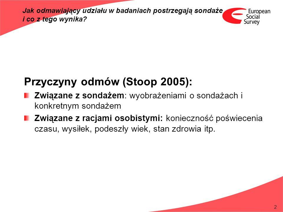 2 Przyczyny odmów (Stoop 2005): Związane z sondażem: wyobrażeniami o sondażach i konkretnym sondażem Związane z racjami osobistymi: konieczność poświe