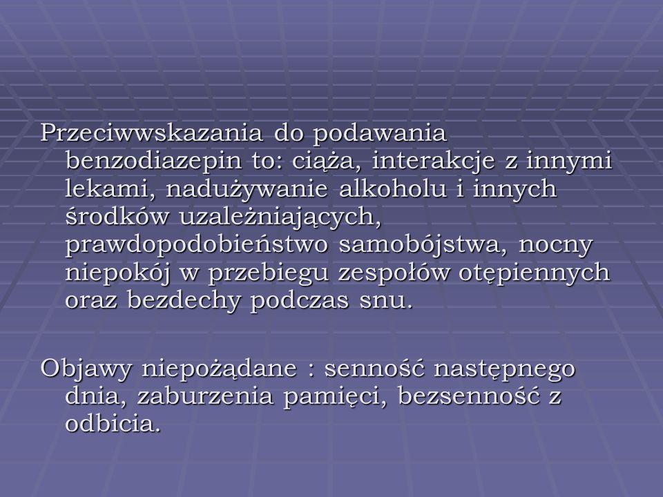 Przeciwwskazania do podawania benzodiazepin to: ciąża, interakcje z innymi lekami, nadużywanie alkoholu i innych środków uzależniających, prawdopodobi