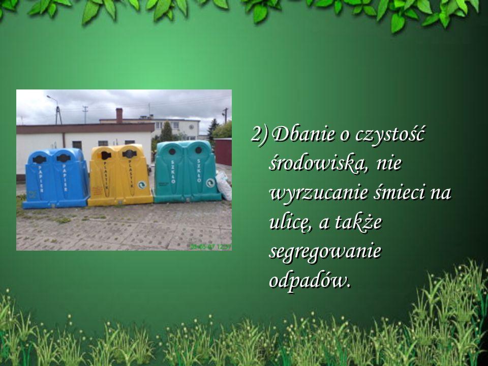 2) Dbanie o czystość środowiska, nie wyrzucanie śmieci na ulicę, a także segregowanie odpadów. 2) Dbanie o czystość środowiska, nie wyrzucanie śmieci