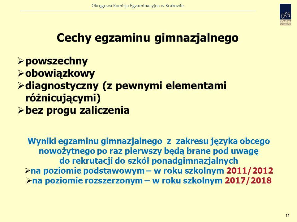 Okręgowa Komisja Egzaminacyjna w Krakowie 11 Cechy egzaminu gimnazjalnego powszechny obowiązkowy diagnostyczny (z pewnymi elementami różnicującymi) be