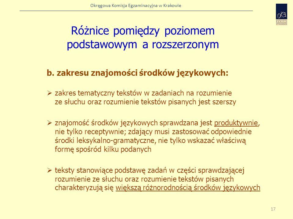 Okręgowa Komisja Egzaminacyjna w Krakowie b. zakresu znajomości środków językowych: zakres tematyczny tekstów w zadaniach na rozumienie ze słuchu oraz