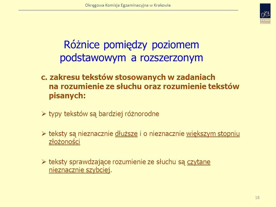 Okręgowa Komisja Egzaminacyjna w Krakowie c. zakresu tekstów stosowanych w zadaniach na rozumienie ze słuchu oraz rozumienie tekstów pisanych: typy te