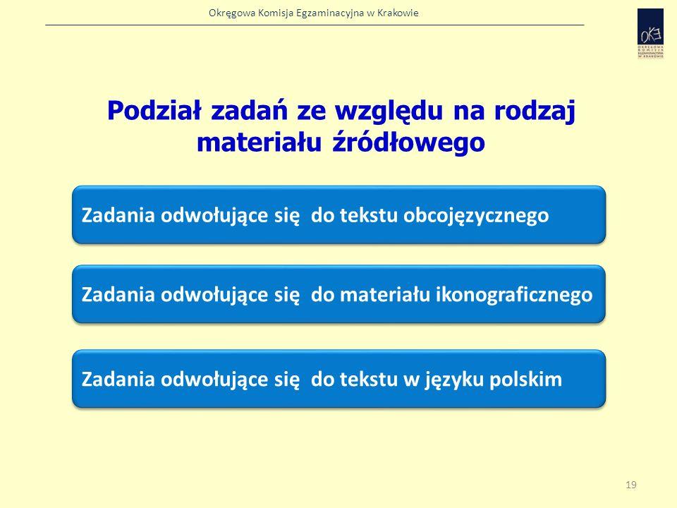 Okręgowa Komisja Egzaminacyjna w Krakowie Zadania odwołujące się do tekstu obcojęzycznego Podział zadań ze względu na rodzaj materiału źródłowego Zada