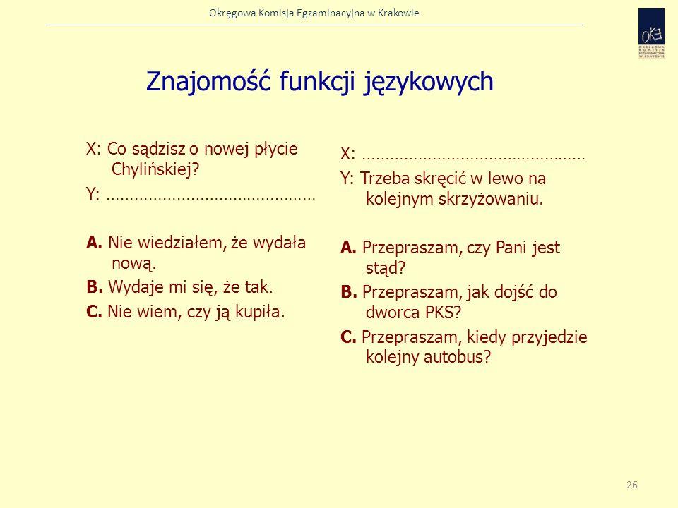 Okręgowa Komisja Egzaminacyjna w Krakowie Znajomość funkcji językowych X: Co sądzisz o nowej płycie Chylińskiej? Y: ……………………………………… A. Nie wiedziałem,