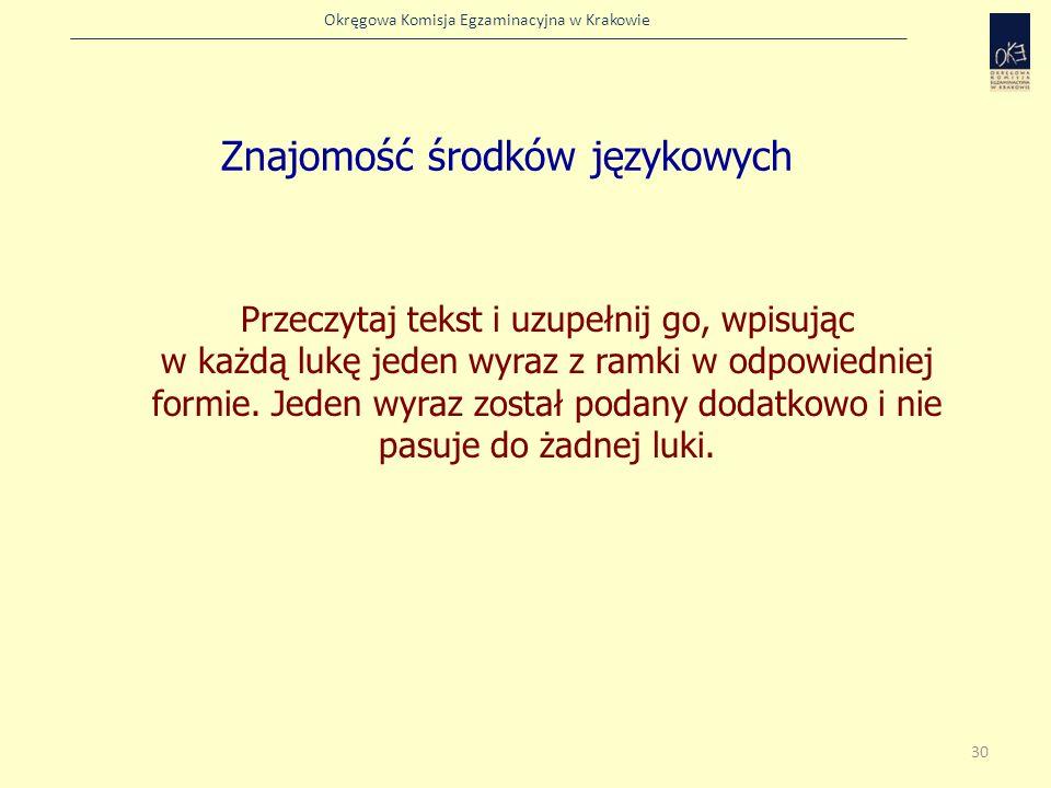 Okręgowa Komisja Egzaminacyjna w Krakowie Znajomość środków językowych Przeczytaj tekst i uzupełnij go, wpisując w każdą lukę jeden wyraz z ramki w od