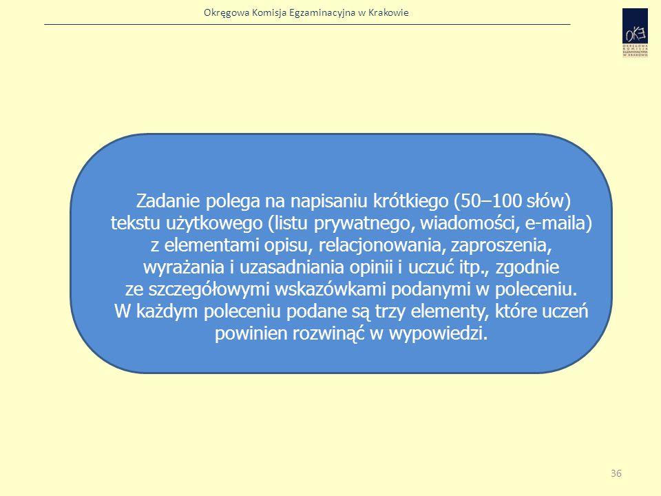 Okręgowa Komisja Egzaminacyjna w Krakowie Zadanie polega na napisaniu krótkiego (50–100 słów) tekstu użytkowego (listu prywatnego, wiadomości, e-maila