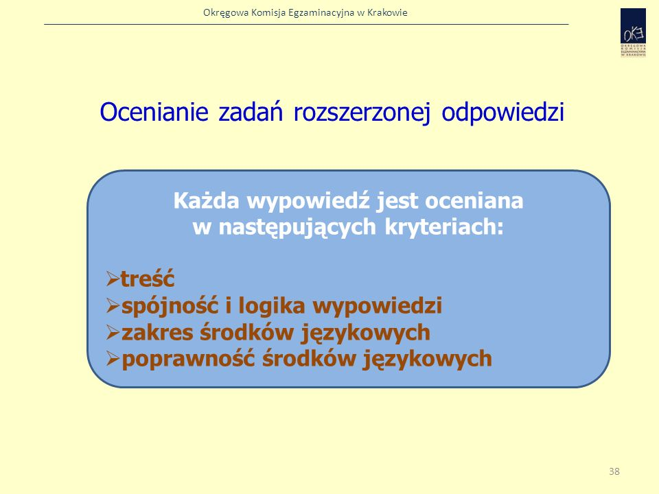 Okręgowa Komisja Egzaminacyjna w Krakowie Ocenianie zadań rozszerzonej odpowiedzi Każda wypowiedź jest oceniana w następujących kryteriach: treść spój