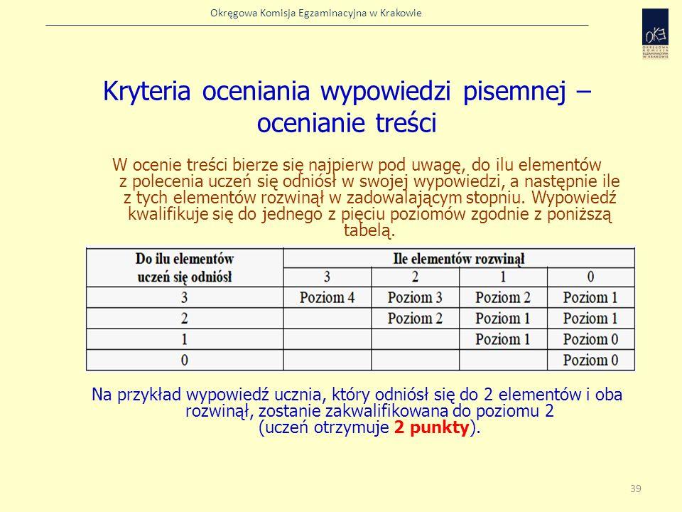 Okręgowa Komisja Egzaminacyjna w Krakowie W ocenie treści bierze się najpierw pod uwagę, do ilu elementów z polecenia uczeń się odniósł w swojej wypow