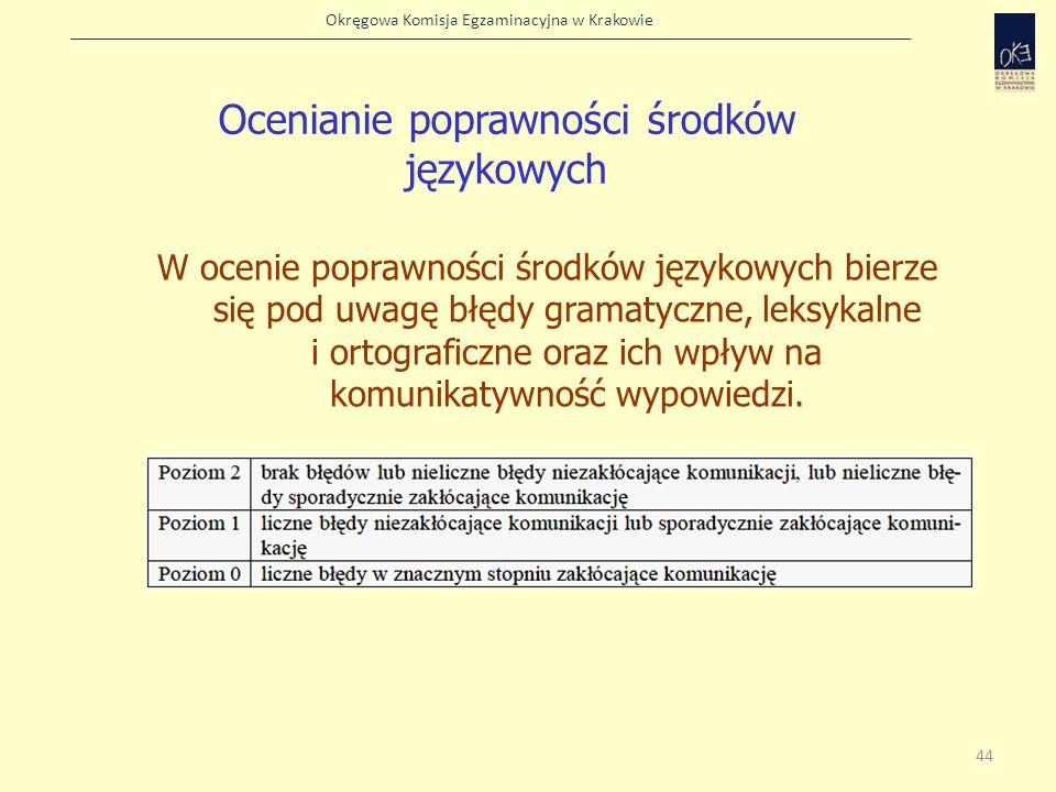Okręgowa Komisja Egzaminacyjna w Krakowie W ocenie poprawności środków językowych bierze się pod uwagę błędy gramatyczne, leksykalne i ortograficzne o