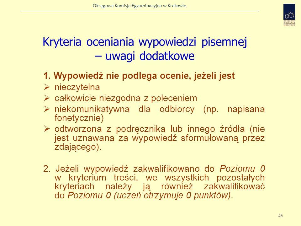 Okręgowa Komisja Egzaminacyjna w Krakowie 1. Wypowiedź nie podlega ocenie, jeżeli jest nieczytelna całkowicie niezgodna z poleceniem niekomunikatywna