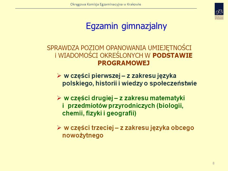 Okręgowa Komisja Egzaminacyjna w Krakowie Zadania odwołujące się do tekstu obcojęzycznego Podział zadań ze względu na rodzaj materiału źródłowego Zadania odwołujące się do materiału ikonograficznego Zadania odwołujące się do tekstu w języku polskim 19