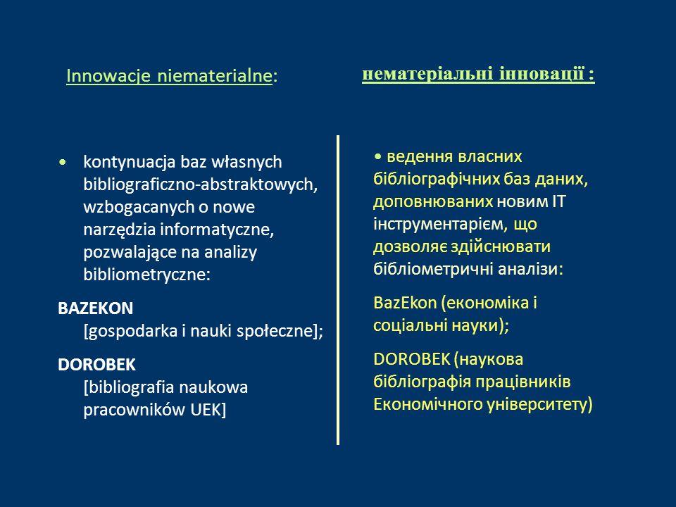 Innowacje niematerialne: kontynuacja baz własnych bibliograficzno-abstraktowych, wzbogacanych o nowe narzędzia informatyczne, pozwalające na analizy bibliometryczne: BAZEKON [gospodarka i nauki społeczne]; DOROBEK [bibliografia naukowa pracowników UEK] ведення власних бібліографічних баз даних, доповнюваних новим ІТ інструментарієм, що дозволяє здійснювати бібліометричні аналізи: BazEkon (економіка і соціальні науки); DOROBEK (наукова бібліографія працівників Економічного університету) нематеріальні інновації :