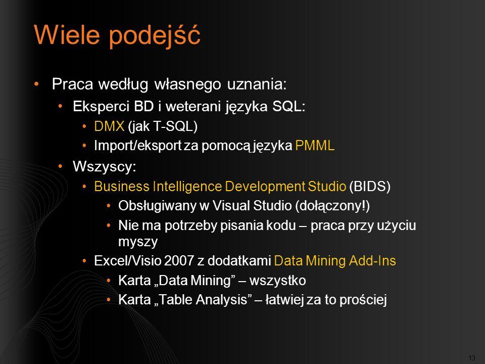 13 Wiele podejść Praca według własnego uznania: Eksperci BD i weterani języka SQL: DMX (jak T-SQL) Import/eksport za pomocą języka PMML Wszyscy: Business Intelligence Development Studio (BIDS) Obsługiwany w Visual Studio (dołączony!) Nie ma potrzeby pisania kodu – praca przy użyciu myszy Excel/Visio 2007 z dodatkami Data Mining Add-Ins Karta Data Mining – wszystko Karta Table Analysis – łatwiej za to prościej