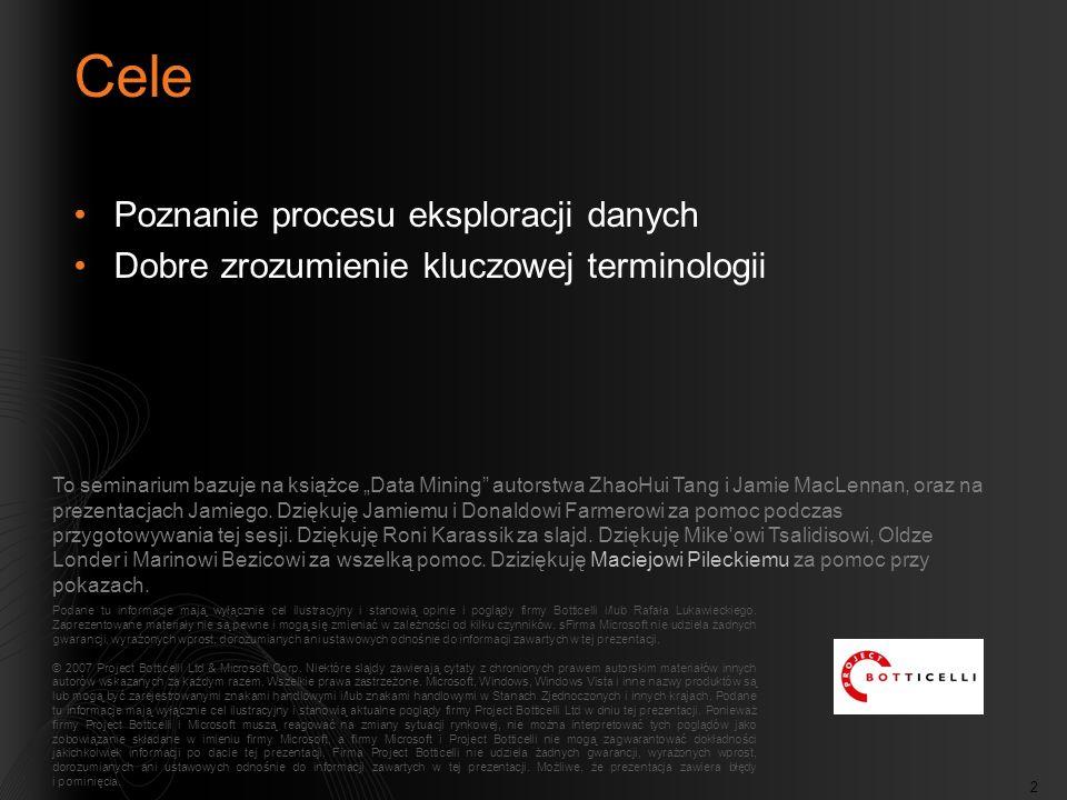 2 Cele Poznanie procesu eksploracji danych Dobre zrozumienie kluczowej terminologii Podane tu informacje mają wyłącznie cel ilustracyjny i stanowią opinie i poglądy firmy Botticelli i/lub Rafała Lukawieckiego.