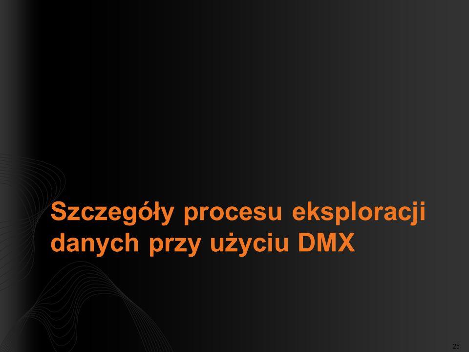 25 Szczegóły procesu eksploracji danych przy użyciu DMX