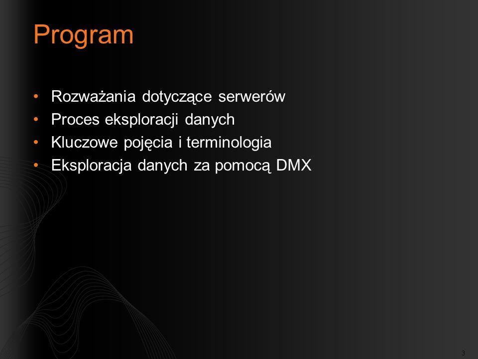 3 Program Rozważania dotyczące serwerów Proces eksploracji danych Kluczowe pojęcia i terminologia Eksploracja danych za pomocą DMX