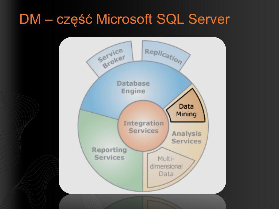 16 Struktura eksploracji (Mining Structure) Opisuje dane, którymi trzeba się zająć Kolumny ze źródeł danych i ich: Typy danych Typy zawartości Zawiera modele eksploracji Często buduje się kilka różnych modeli w jednej strukturze Przechowuje dane treningowe, zwane przypadkami (cases) (jeśli to konieczne) Przechowuje dane testowe, określane jako wydzielone (holdout) (w programie SQL 2008)